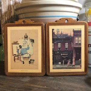 Vintage Norman Rockwell Wood Wall Plaques